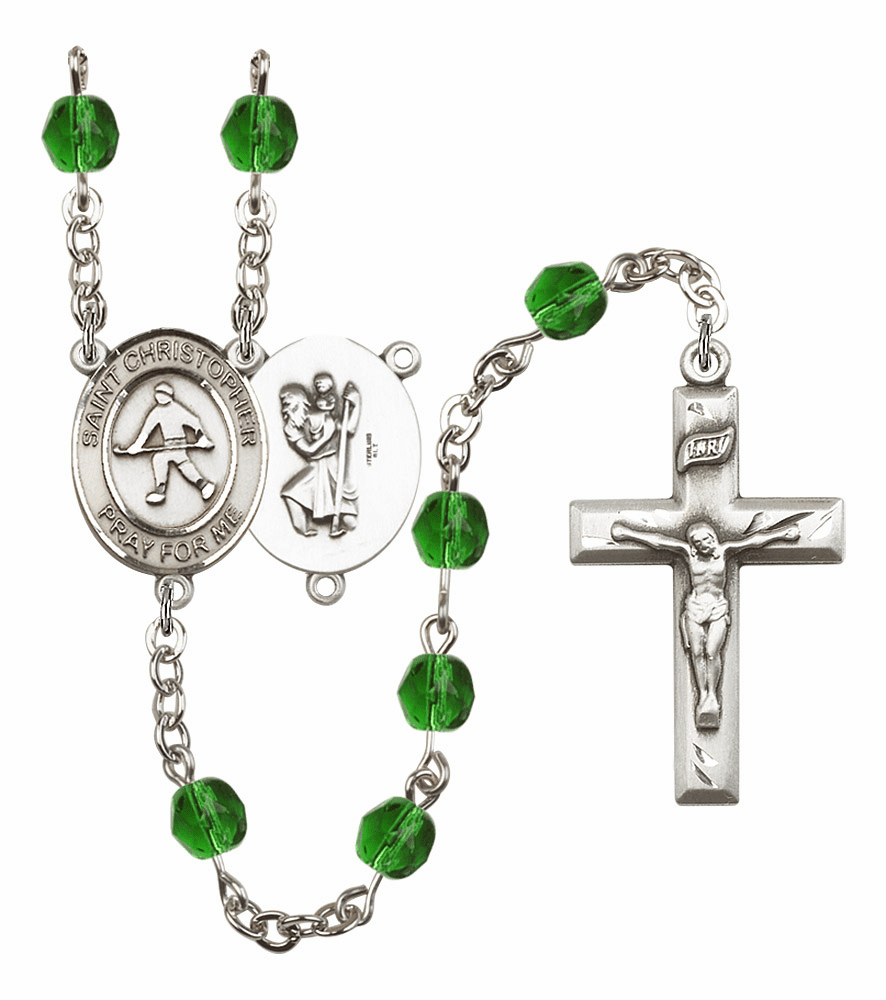 "Bliss Mfg St Christopher Field Hockey Birthstone Crystal Prayer Rosary  - ""More Colors"""