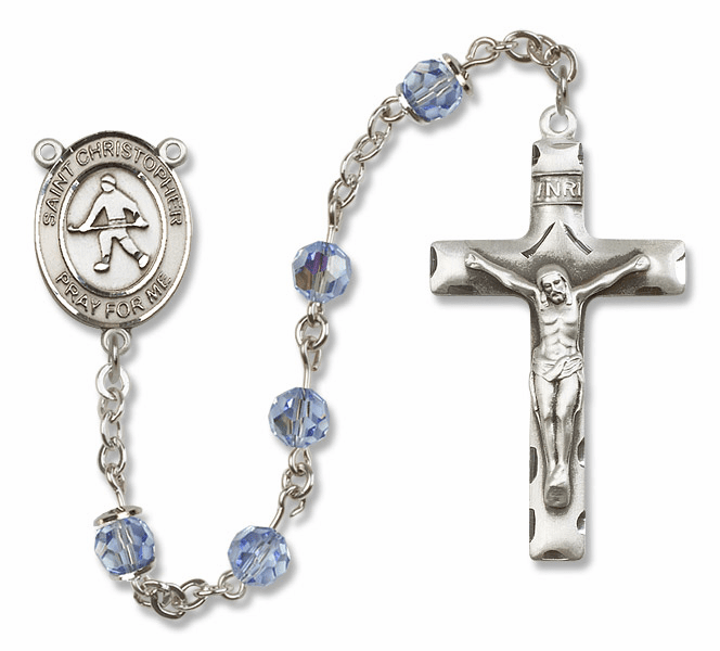 "Bliss Mfg St Christopher Field Hockey Sterling Silver Patron Saint  Swarovski Crystal Rosary - ""More Options"""