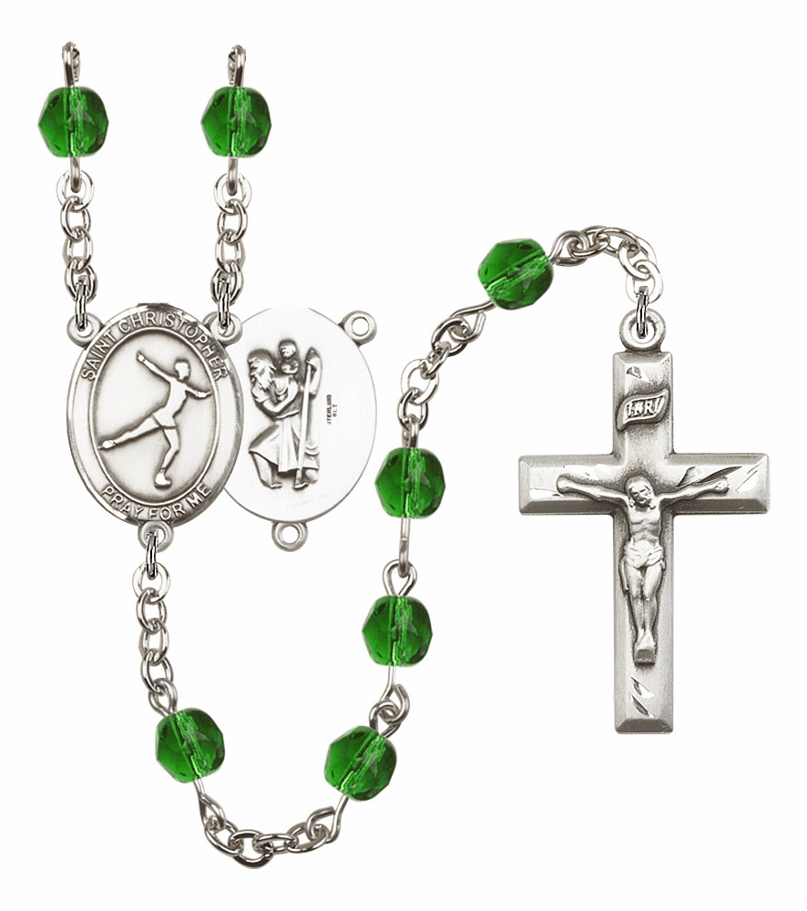 "Bliss Mfg St Christopher Figure Skating Birthstone Crystal Prayer Rosary  - ""More Colors"""