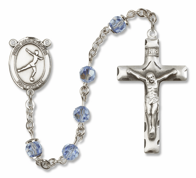 "Bliss Mfg St Christopher Figure Skating Sterling Silver Patron Saint  Swarovski Crystal Rosary - ""More Options"""