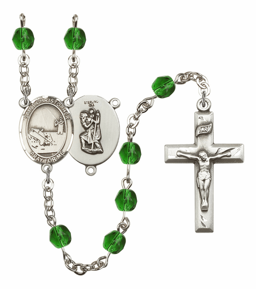"Bliss Mfg St Christopher Fishing Birthstone Crystal Prayer Rosary  - ""More Colors"""