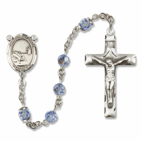 "Bliss Mfg St Christopher Fishing Sterling Silver Patron Saint  Swarovski Crystal Rosary - ""More Options"""