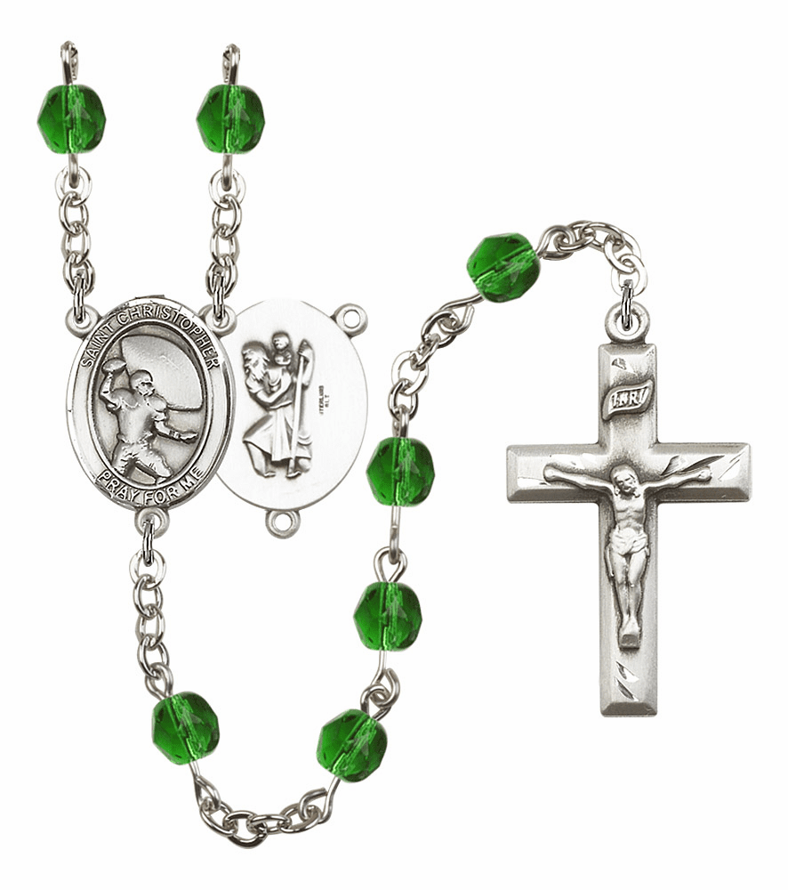 Bliss Mfg St Christopher Football Birthstone Crystal Rosary - More Colors