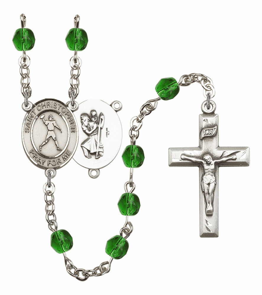 "Bliss Mfg St Christopher Football Birthstone Crystal Prayer Rosary  - ""More Colors"""