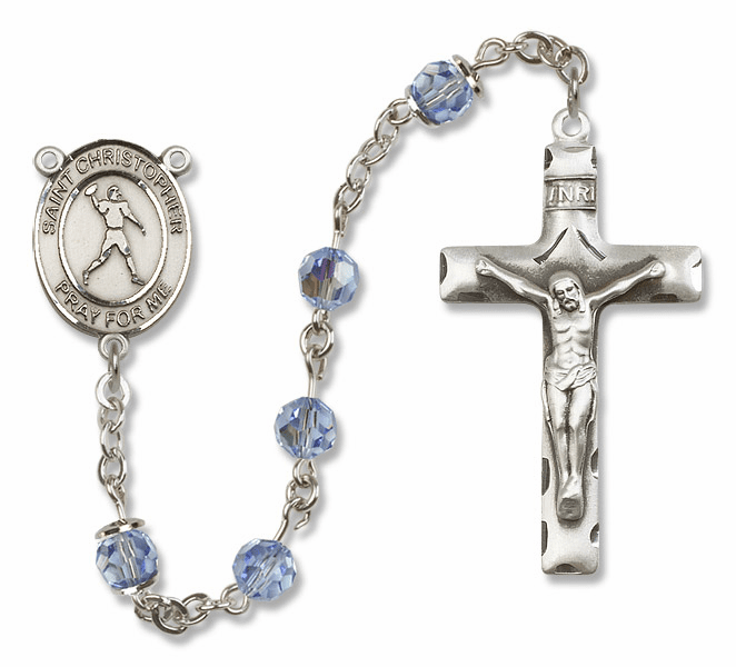 "Bliss Mfg St Christopher Football Sterling Silver Patron Saint  Swarovski Crystal Rosary - ""More Options"""