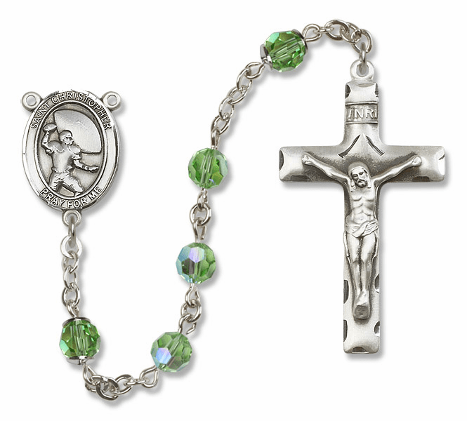 Bliss St Christopher Football Swarovski Crystal Sterling and Gold Rosaries - More Colors