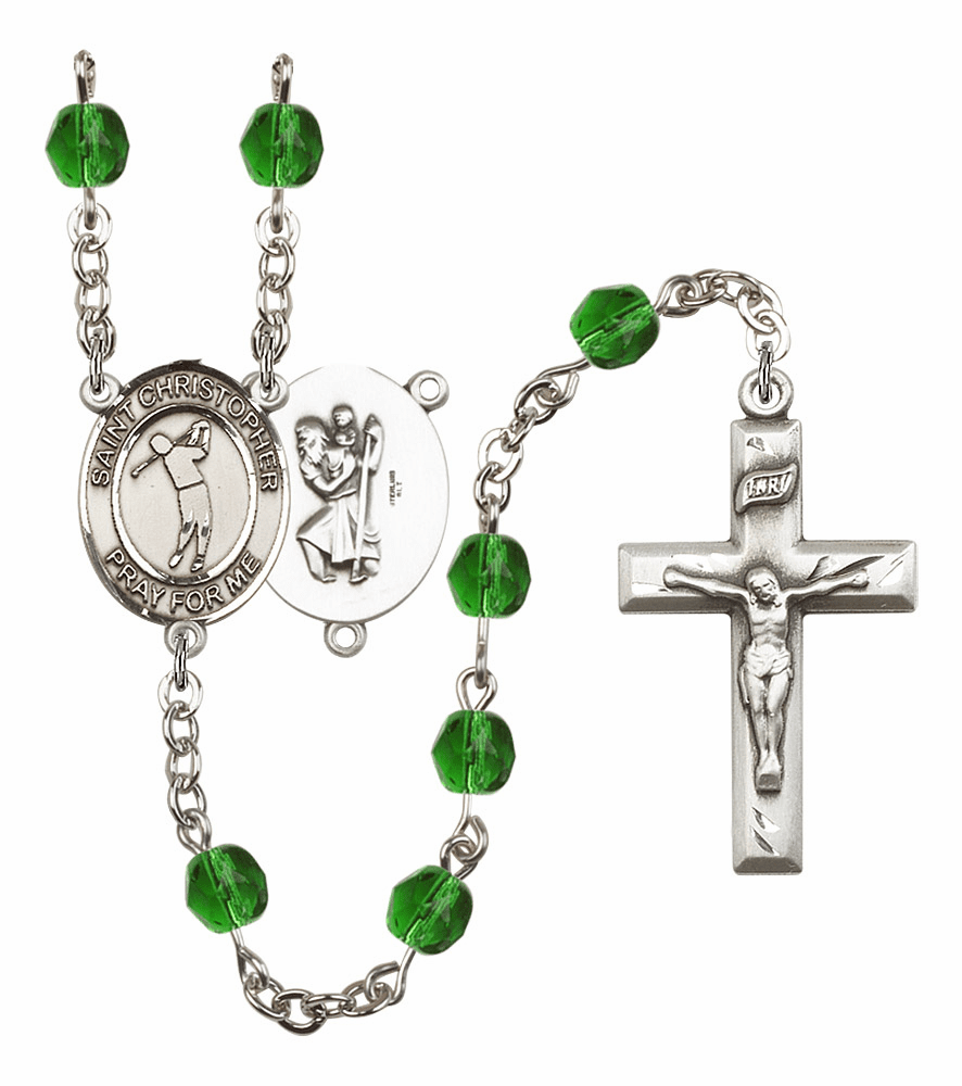 Bliss Mfg St Christopher Golf Birthstone Crystal Prayer Rosary - More Colors