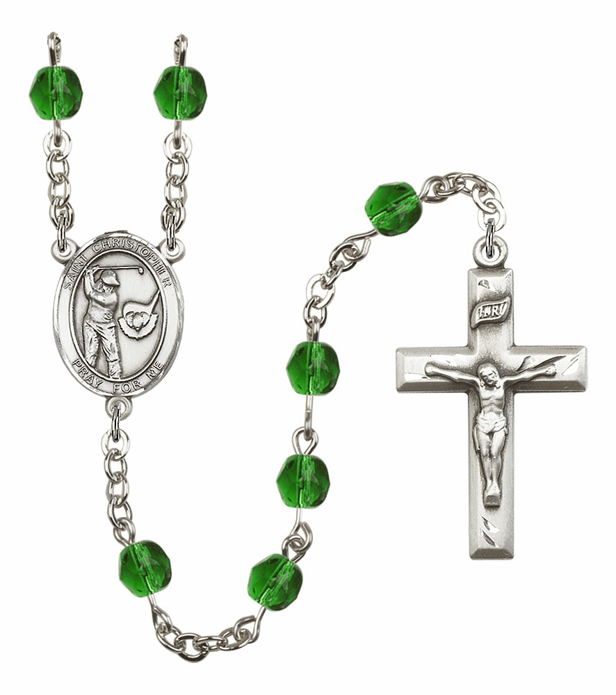 Bliss Mfg St Christopher Golf Birthstone Crystal Rosary - More Colors