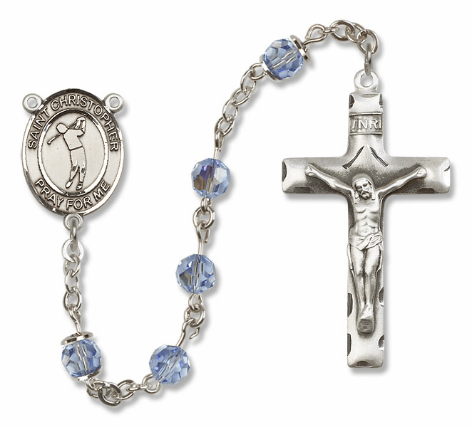 "Bliss Mfg St Christopher Golf Sterling Silver Patron Saint  Swarovski Crystal Rosary - ""More Options"""