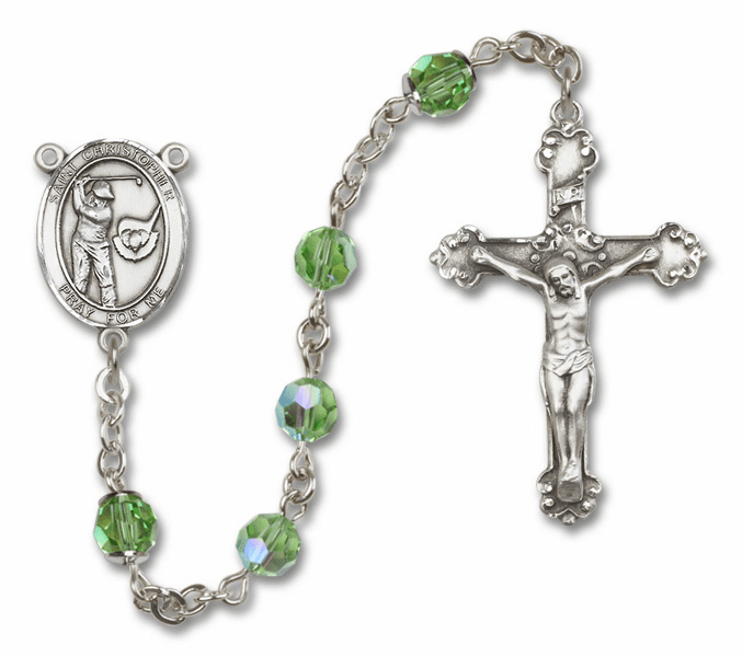 Bliss St Christopher Golf Swarovski Crystal Sterling and Gold Rosaries - More Colors