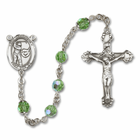 "Bliss Mfg St Christopher Golf Swarovski Crystal Sterling Silver Catholic Saint Rosary - ""More Options"""