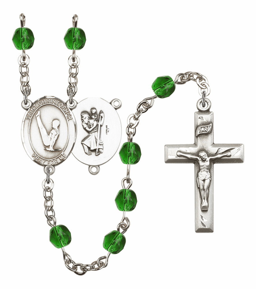 "Bliss Mfg St Christopher Gymnastics Birthstone Crystal Prayer Rosary  - ""More Colors"""