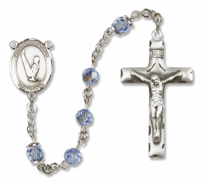 "Bliss Mfg St Christopher Gymnastics Sterling Silver Patron Saint  Swarovski Crystal Rosary - ""More Options"""