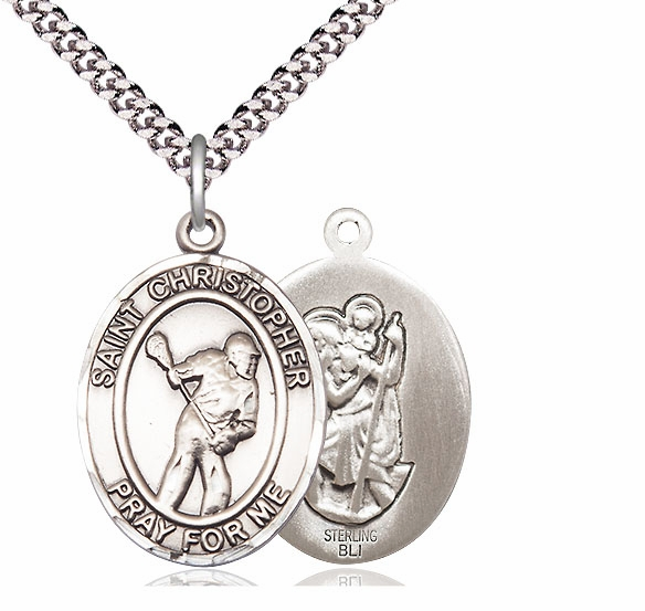 Bliss Mfg St Christopher Lacrosse Sterling Silver Medal Necklace