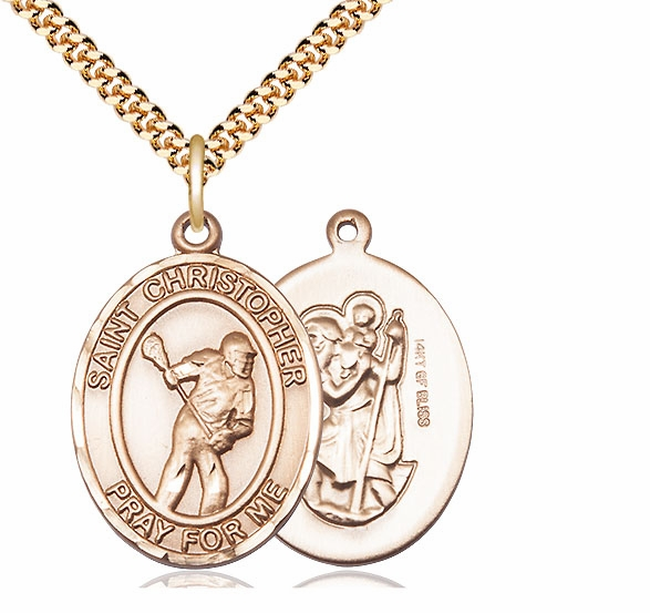 Bliss Mfg St Christopher Lacrosse Yellow Gold Filled Medal Necklace