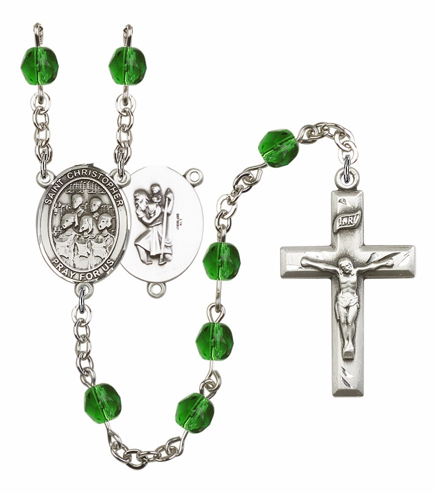 Bliss Mfg St Christopher Music Choir Birthstone Crystal Rosary - More Colors