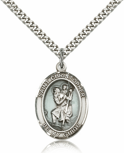 St. Christopher Patron Saint Silver-filled Medal Pendant