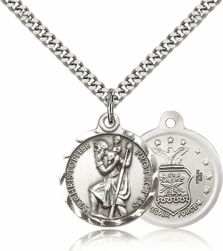 Bliss Mfg St Christopher US Air Force Sterling Silver Military Patron Saint Medal Necklace