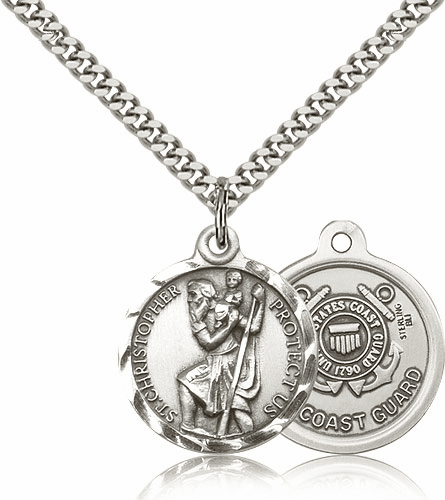Bliss Mfg St Christopher US Coast Guard Sterling Silver Military Patron Saint Medal Necklace