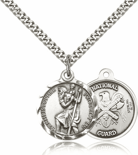 Bliss Mfg St Christopher US National Guard Sterling Silver Military Patron Saint Medal Necklace