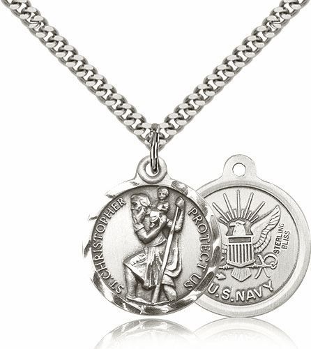 Bliss Mfg St Christopher US Navy Sterling Silver Military Patron Saint Medal Necklace