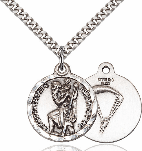 Bliss Mfg St Christopher US Paratrooper Silver-filled Military Patron Saint Medal Necklace