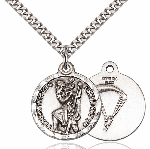 Bliss Mfg St Christopher US Paratrooper Sterling Silver Military Patron Saint Medal Necklace