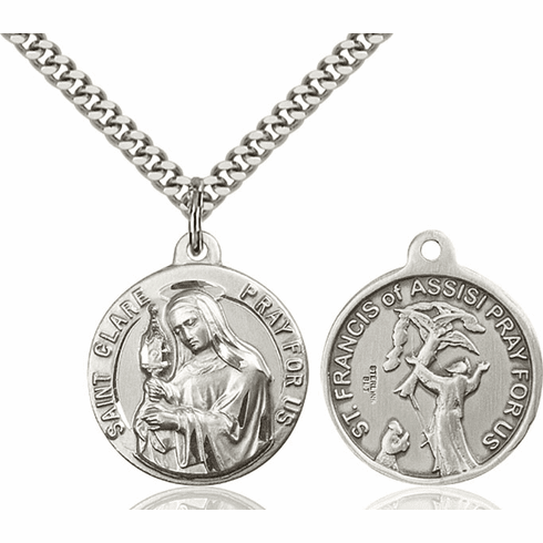 Bliss St Clare and St Francis of Assisi Medal Necklace