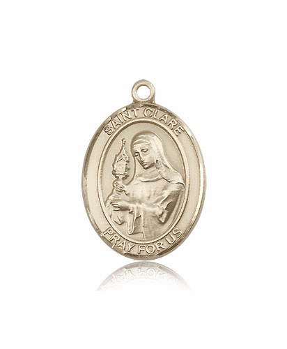 Bliss Mfg St Clare of Assisi 14kt Gold Patron Saint Medal Pendant