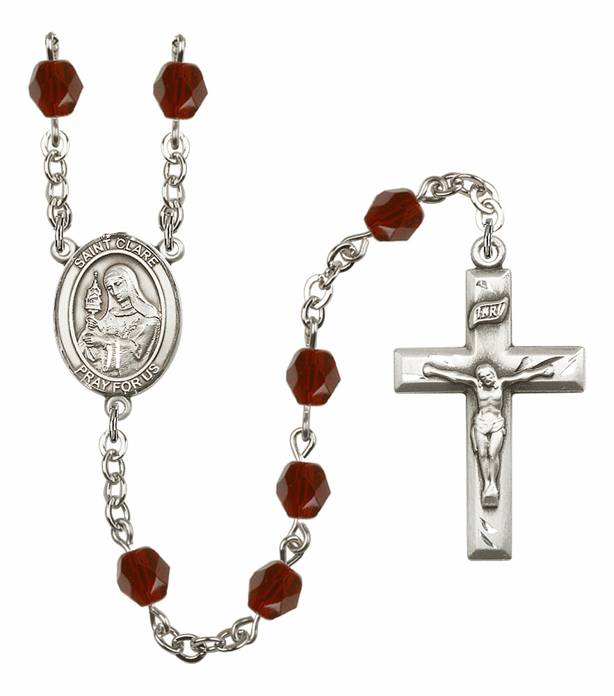 Bliss Mfg St Clare of Assisi January Garnet Birthstone Rosary - More Colors