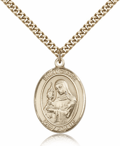 St Clare of Assisi Patron Saint 14kt Gold-filled Medal w/Chain