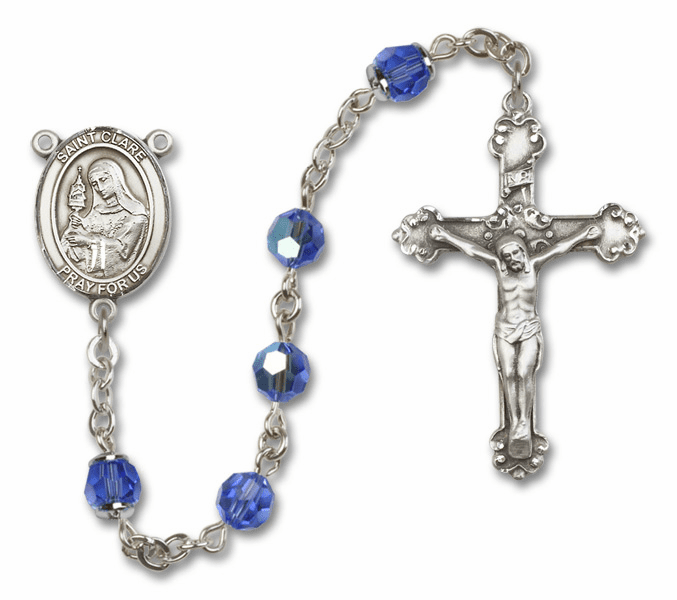 Bliss Mfg St Clare of Assisi Sterling Silver Sapphire Swarovski Rosary