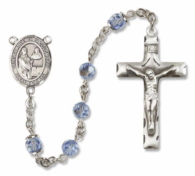"Bliss Mfg St Claude de la Colombiere Sterling Silver Patron Saint  Swarovski Crystal Rosary - ""More Options"""