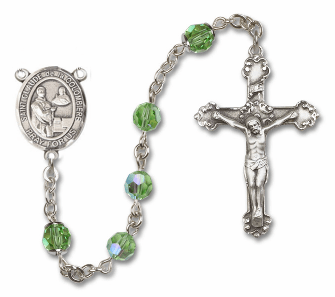 "Bliss Mfg St Claude de la Colombiere Swarovski Crystal Sterling Silver Catholic Saint Rosary - ""More Options"""