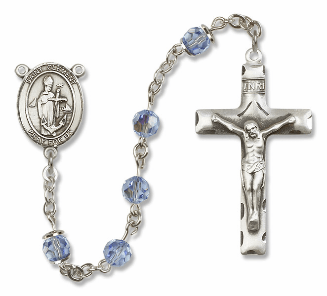 """Bliss Mfg St Clement Sterling Silver Patron Saint  Swarovski Crystal Rosary - """"More Options"""""""