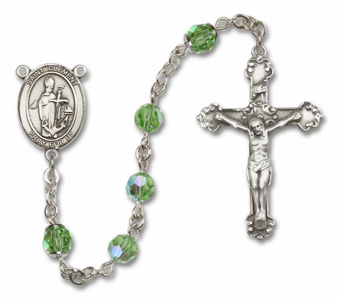 """Bliss Mfg St Clement Swarovski Crystal Sterling Silver Catholic Saint Rosary - """"More Options"""""""