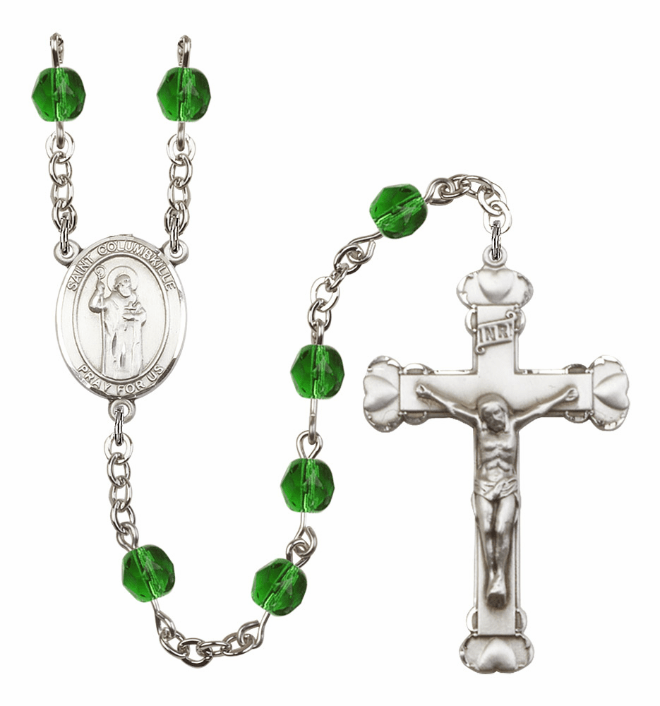 "Bliss Mfg St Columbkille Heart Birthstone Crystal Prayer Rosary  - ""More Colors"""