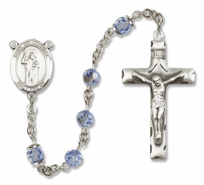 "Bliss Mfg St Columbkille Sterling Silver Patron Saint  Swarovski Crystal Rosary - ""More Options"""