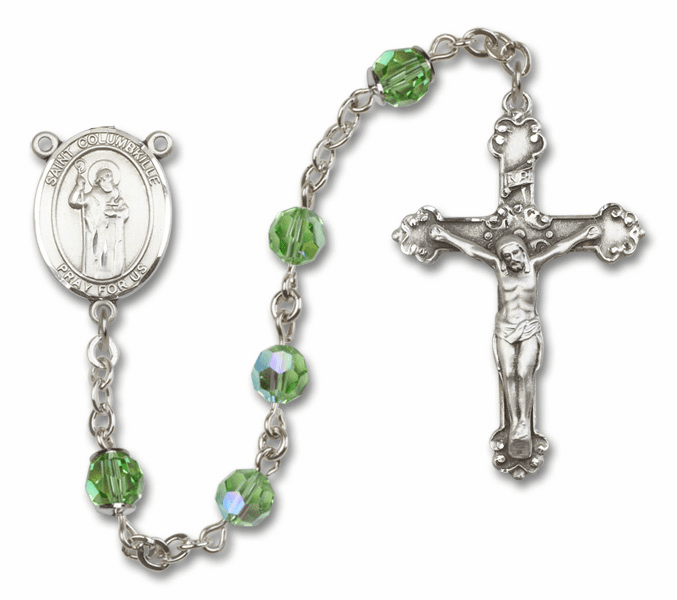 "Bliss Mfg St Columbkille Swarovski Crystal Sterling Silver Catholic Saint Rosary - ""More Options"""