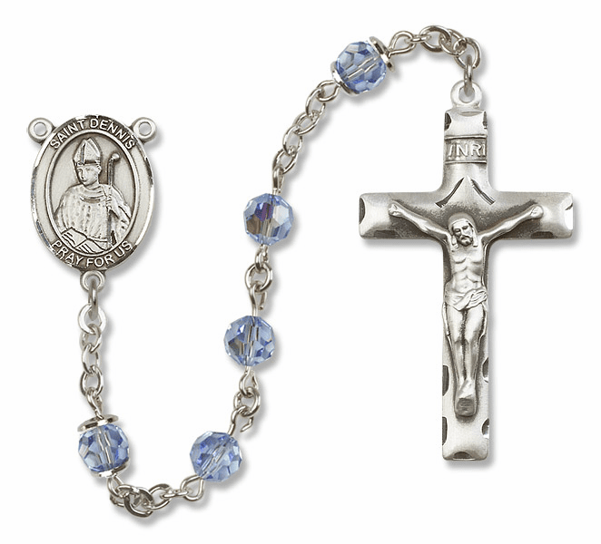 "Bliss Mfg St Dennis Sterling Silver Patron Saint  Swarovski Crystal Rosary - ""More Options"""
