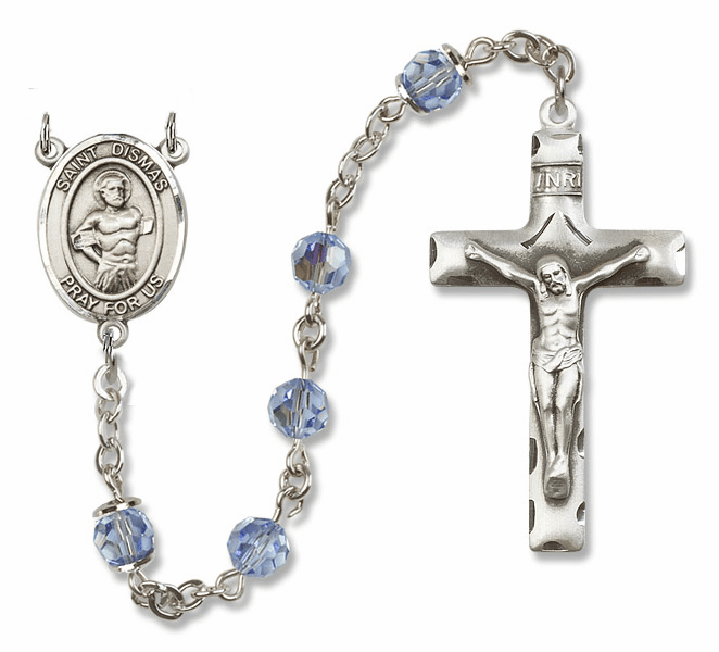 "Bliss Mfg St Dismas Sterling Silver Patron Saint  Swarovski Crystal Rosary - ""More Options"""
