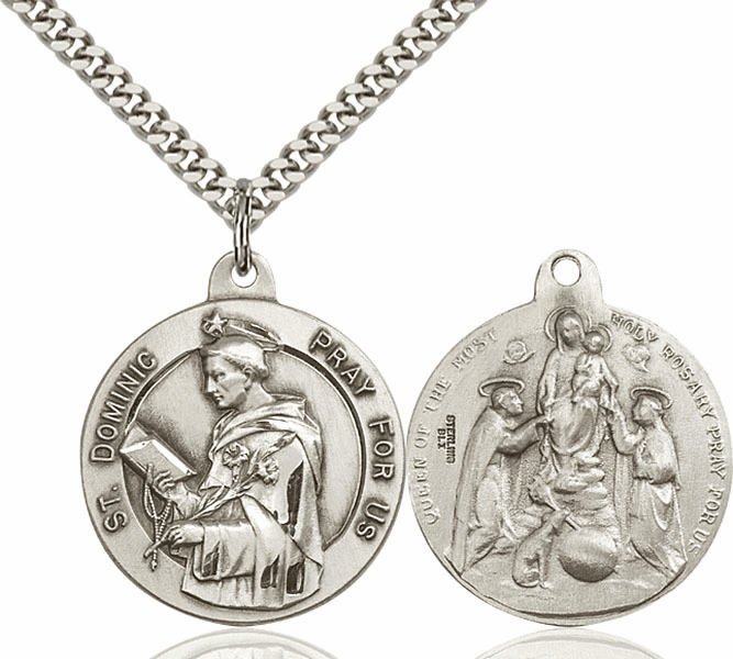 Bliss Mfg St Dominic and Holy Rosary Sterling Medal Necklace