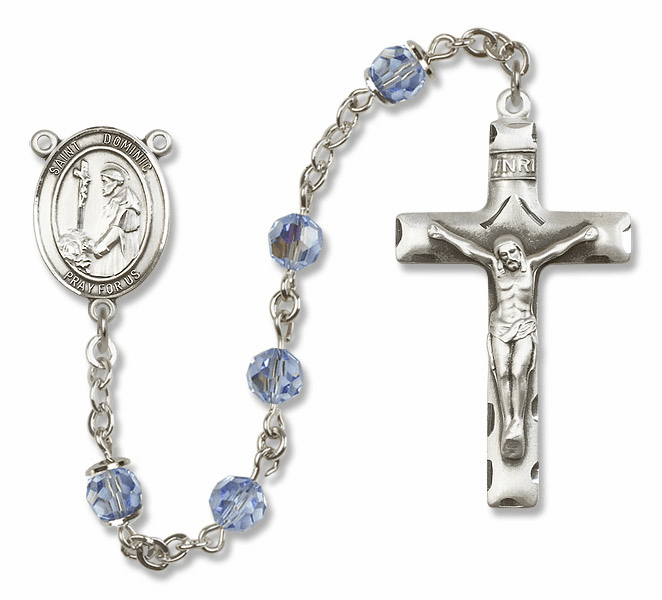 "Bliss Mfg St Dominic de Guzman Sterling Silver Patron Saint  Swarovski Crystal Rosary - ""More Options"""