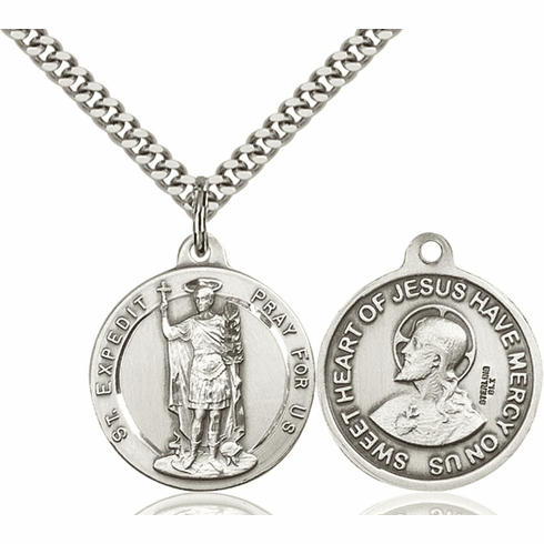 Bliss St Expedit and Sacred Heart Medal Necklace
