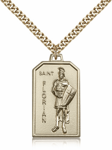 Bliss Mfg. St Florian 14kt Gold Filled Patron Saint Medal Necklace