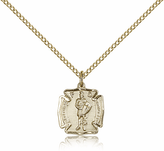 Bliss Mfg St Florian 14kt Gold-Filled Patron Saint Pendant w/Chain