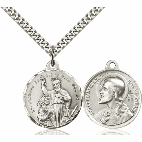 Bliss St Francis de Sales and Sacred Heart Medal Necklace