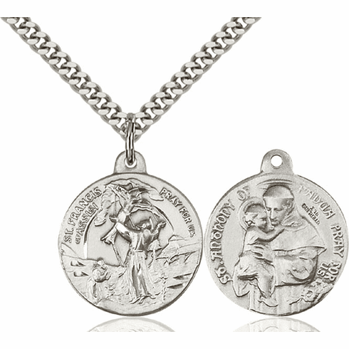 Bliss St Francis of Assisi and St Anthony Medal Necklace