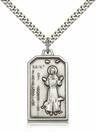 Bliss Mfg. St Francis Sterling Silver Patron Saint Medal Necklace by Bliss Mfg.
