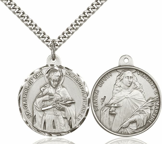 Bliss Mfg St Gabriel of the Blessed Virgin and St Lucia Sterling Medal Necklace